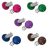 Sadingo Schnullerketten-Clips - 5 Stück - fünf Farben, pink, blau, braun und lila - 4,4 x 2,9 cm - Schnullerkette basteln