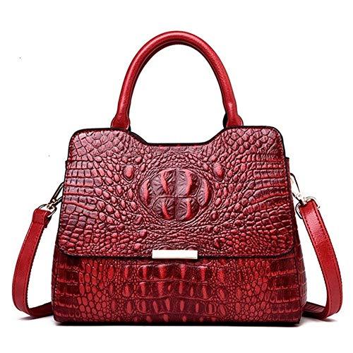 JMXAFMY Bolsos de piel auténtica de cocodrilo vintage de lujo para mujer, bolso de hombro para mujer (color: rojo, tamaño: XL)