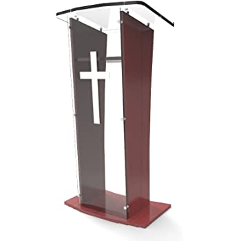 Amazon Com Fixturedisplays Wood Podium With Clear Front Panel 48 Tall Lectern Church Pulpit 1803 5 Oak Nf No Office Products