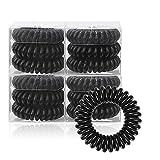 12 gomas para el pelo en espiral para mujeres y niñas, de plástico, serie multicolor en espiral (negro)