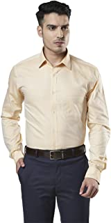 Raymond Self Design Medium Fawn Formal Cotton Shirt