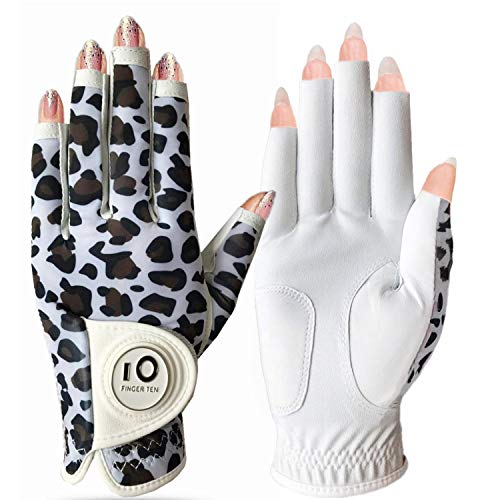 Golf Gloves Women Left Hand Right Leather with Ball Marker Full Finger/Nail Colors Pack, Womens Ladies Fashion All Weather Grip, Fit Size S M L XL (Leopard Nail, S-Worn on Left Hand)
