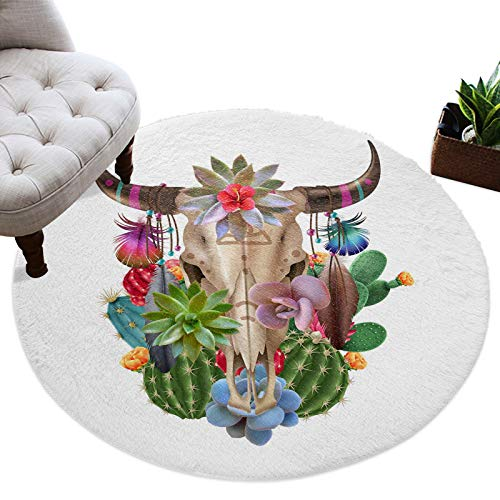 Round Area Rug Bull Skull with Cactus Filling Fuzzy Plush Area Rug Furry Carpet 4 Ft, Succulent Plants Simple White Backdrop Shaggy Playing Rug for Girls/Boys, Cute Floor Decor for Babyroom