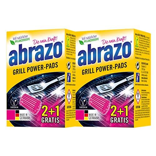 abrazo Grill Power-Pads Grillreiniger & Backofen-Reiniger antibakteriell Reinigungs-Schwamm für Grill/Küche, verseifte Topfreiniger Pads vegan 2x 2 + 1