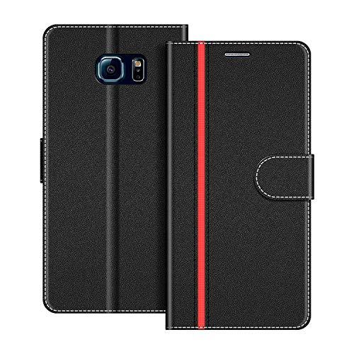 COODIO Handyhülle für Samsung Galaxy S6 Edge Handy Hülle, Samsung Galaxy S6 Edge Hülle Leder Handytasche für Samsung Galaxy S6 Edge Klapphülle Tasche, Schwarz/Rot