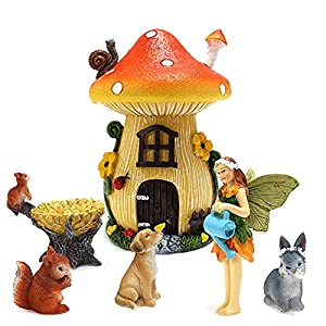 mibung fairy garden house accessories kit miniature mushroom house with fairies animals figurines set of 6pcs indoor outdoor holiday ornaments gifts for kids adults yard lawn decor