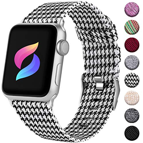 Haveda Fabric Compatible for Apple Watch Band 40mm Series 5 Series 4, Soft Nylon iwatch Bands 38mm Womens, Sport Cloth watchband for Apple Watch Series 3 Series 2/1, Men Kids (Houndstooth)