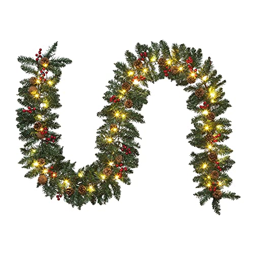 Hanizi 9 FT Christmas Garland, Battery Operated 8 Lighting Modes, Lighted Christmas Garland with 50 LEDs, Pine Cones, Red Berries