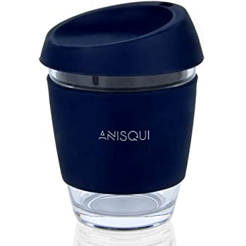 Glass Travel Mug, (12oz 350ml Eco Friendly Reusable Coffee Cup Glass), Portable Coffee Cup with lid by AniSqui (Navy)
