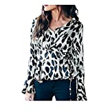 UOFOCO Blouses for Women V-Neck Casual Leopard Strappy Flare Long Sleeve T-Shirt Tops White