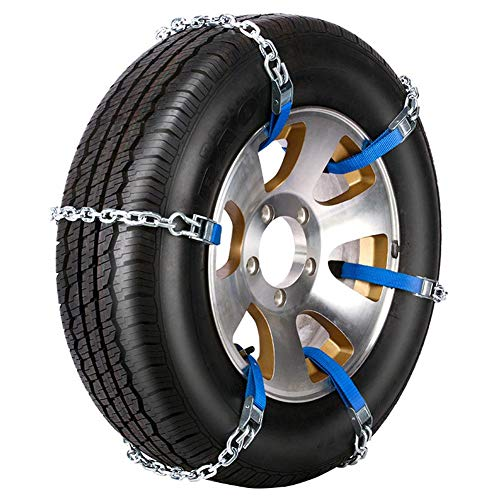 CampHiking 6 STÜCKE Schneeketten Für Autos, Universal Winter Anti-Skid Reifen Ketten Tragbare Reifenkette Für SUV LKW Auto Notfall Rad (Stahl, S/M/L-165to285)