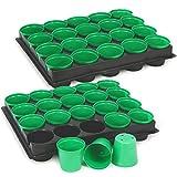 com-four 40x macetas de semillas con macetas para el cultivo de plantas, caja de plantas para 40 plantas, 30.5 x 25.5 x 5.8 cm (040 piezas - macetas con bandeja)
