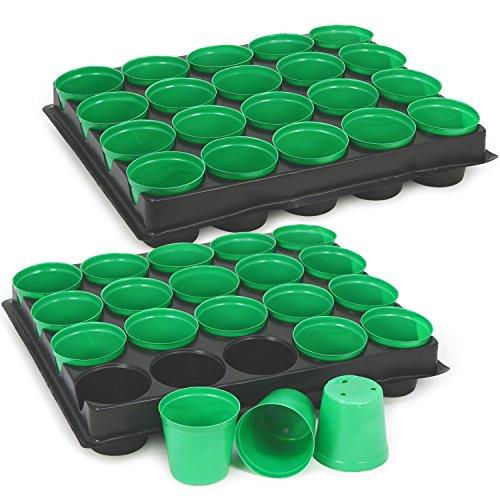 com-four® Pots de pépinière 40x avec jardinières pour la Culture des Plantes, jardinière pour 40 Plantes, 30,5 x 25,5 x 5,8 cm (040 pièces - Pots de Culture avec Plateau)