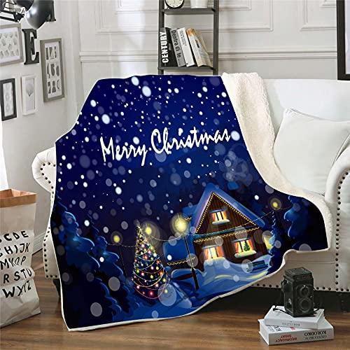 NBVGHJ Manta de Lana Personalizada Feliz Navidad para Camas sofá edredón Grueso Colcha de Moda Manta Adutls niños 150×130CM