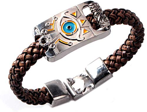 EU_LevinArt The Legend of Zelda Breath of The Wild Logo Collection Gothic Punk Bracelet PU Bracelet en Cuir Couleur Argent Accessoires Bijoux