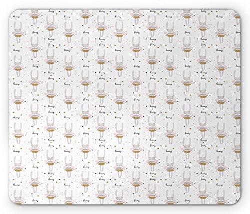Ballerina-Mausunterlage, Cartoon-Figuren des Tänzer-Häschens mit sternenklaren Stäben, Standardgrößen-Rechteck-rutschfestes Gummi-Mousepad, blasses Taupe-hellgraue Rose und dunkles Taupe,Gummimatte 11
