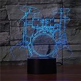 LBJZD luz de noche 3d 7 Colores Instrumento Musical Jazz Drum Set Lámpara De Mesa 3D Usb Led Night Light Touch Baby Sleep Iluminación Decoración Para El Hogar Aficionados A La Música Regalo Base Negra