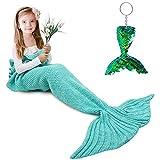 Mermaid Tail Blanket, Amyhomie Mermaid Blanket Adult Mermaid Tail Blanket, Crotchet Kids Mermaid Tail Blanket for Girls (Mint, Kids)