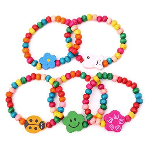 lijun Regalo dei monili della Festa di Compleanno dei Braccialetti di Perline Elastici di Legno dei Bambini dei Bambini Adorabili 5Pc