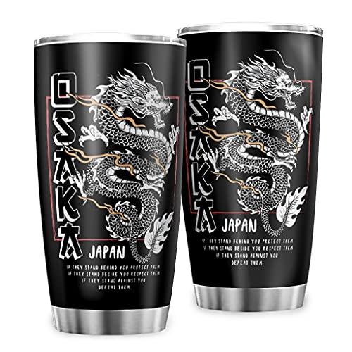 Butterfly Goods Taza Tokyo Dragon con aislamiento – Retro Classic taza de viaje con tapa para coche negro, 600 ml