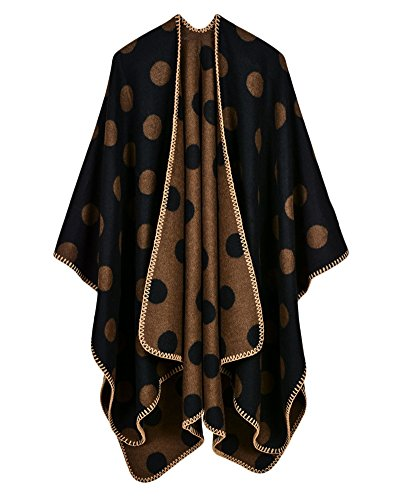 Qitun Womens Large Dot Shawl Cloak Reversible Oversized Poncho Cape Warm Soft Poncho Blanket Cardigans Schwarzer Kaffee