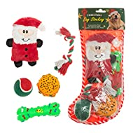 Mihachi 5Pcs Christmas Sock Dog Toys Set, Chewing Plush Toy Red for Puppy and Medium Dogs