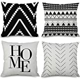 Owadan Outdoor Throw Pillow Covers for Couch Sofa 18x18 Inch Set of 4, Large Square Decorative Accents Pillows Cushion Cases for Bed Living Room Farmhouse, Black and White Pillowcases