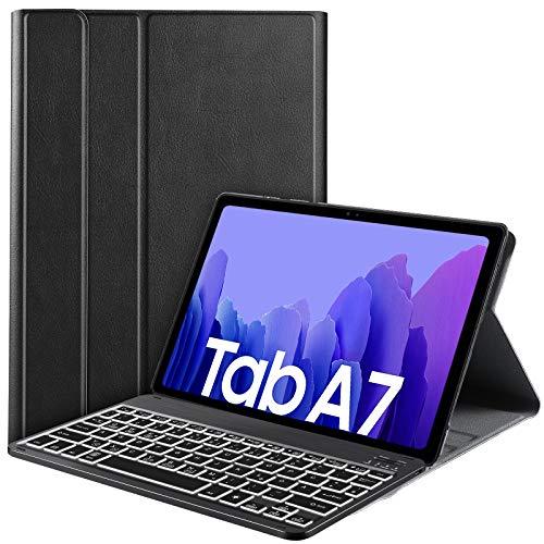 IVSO Beleuchtete Tastatur Hülle für Samsung Galaxy Tab A7 10.4 2020, [QWERTZ Deutsches], Samsung Galaxy Tab A7 T505/T500/T507 10.4 Tastatur Hülle, Schutzhülle mit Abnehmbar Tastatur, Schwarz