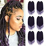 6 Pack Straight Goddess Locs Crochet Hair with Curly End 20 Inch Faux Locs Crochet Hair Braids Soft Synthetic Ombre Purple Hair Extensions