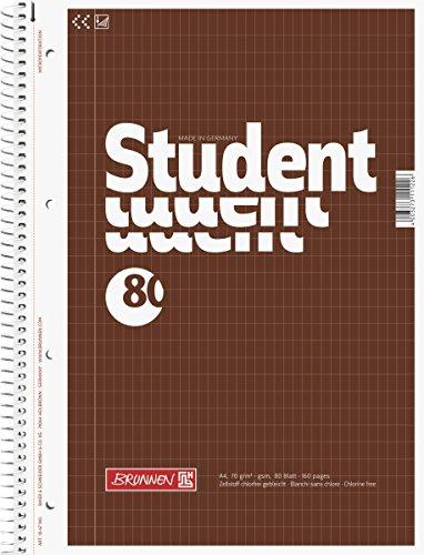 Brunnen 1067943 Notizblock / Collegeblock Student (A4, rautiert 70 g/m² 80 Blatt)