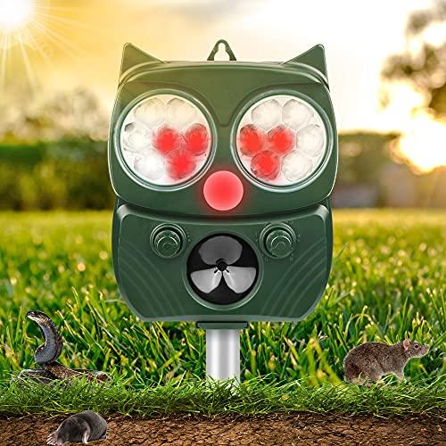 Solar Ultrasónico Repelente para Gatos, IP65 Repelente de Gatos con 5 Modos Ajustables, Repelente de Animales Ultrasónico con LED Que Destella, Repelente Solar Ultrasónico para Gatos, Perros, Ratones