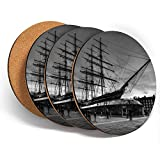 Posavasos de vinilo con diseño de Destination Ltd (juego de 4) redondo – BW – Cutty Sark velero, barco, bebidas, brillante, protección de mesa, para cualquier tipo de mesa #39029
