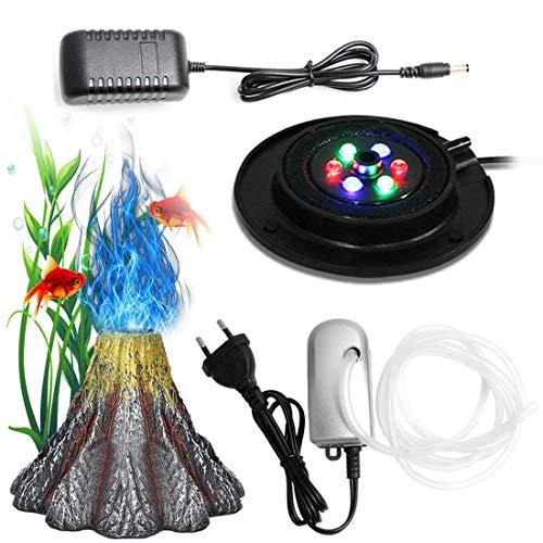 Kaiyashengled LED Aquarium Air Stone Bubble Light with Pump, RGB Auto 6 Colors Changing Volcano Shape Underwater IP68 for Aquarium Decoration Fish Tank (with UK Plug)