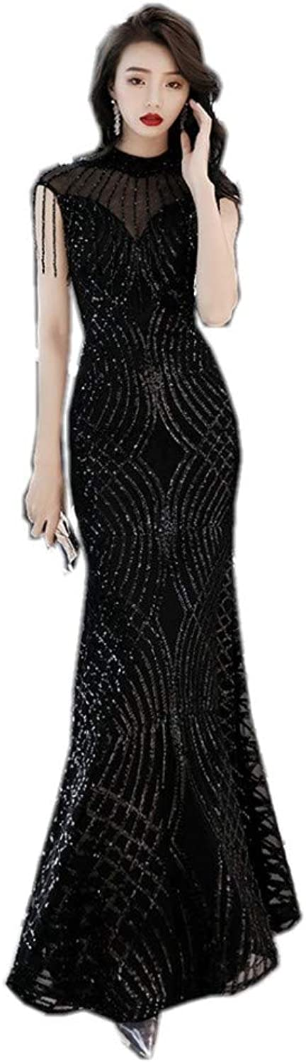 Darcy74Dulles Women's Women's Elegant Black Sequins Evening Dress Long Formal Prom Gowns with Beads