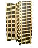 Biombo Separador de ambientes, 3 Paneles, Bambú...