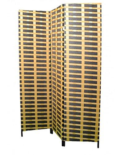 Biombo Separador de ambientes, 3 Paneles, Bambú Natural y Papel Trenzado...