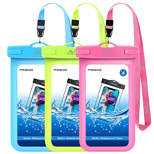 MoKo Waterproof Phone Case [3 Pack], Underwater CellPhone Pouch Dry Bag with Lanyard Compatible with iPhone 11/11 Pro/11 Pro Max/X/Xs/Xr/Xs Max, 8/7/6s Plus, Galaxy 20/S10/S9/S8 Plus, S10e, Note 9/8