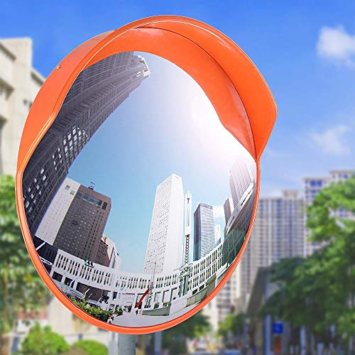 30' Security Mirror PC Convex Traffic Mirror Wide Angle Curved Safety Mirror Circular Pole Mount w/Adjustable Bracket for Outdoor Indoor Driveway Road Shop Garage Parking Lot Blind Spot Hidde