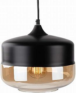 Newrays Modern Single Blown Black Glass Pendant Lighting Ceiling Light for Kitchen Island Lighting Fixtures