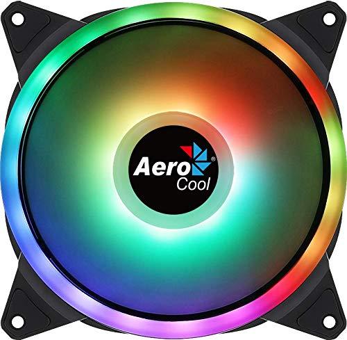 Aerocool DUO14, Ventilador 140mm, ARGB LED Dual Ring, Antivibración, 6 Pines
