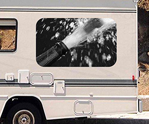 3D Autoaufkleber Sekt Flasche Champagner Korken Fest schwarz weiß Wohnmobil Auto KFZ Fenster Sticker Aufkleber 21A556, Größe 3D sticker:ca. 45cmx27cm