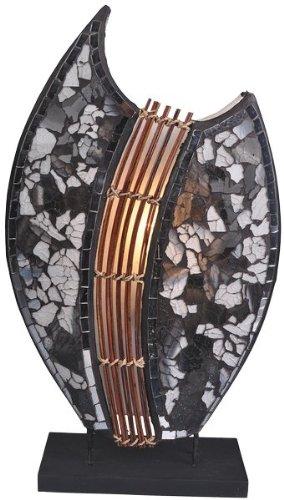 Deko-Leuchte PIA oval, Natur-Material, Höhe ca. 40 cm, Stimmungsleuchte