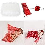 Juego de 3 piezas de accesorios para fotos de bebé, manta mullida + envoltura + diadema para recién nacidos