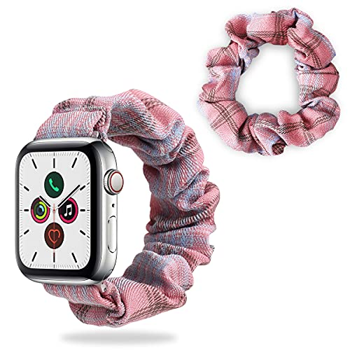 Yokata 1 PCS Scrunchie Elástica + 1 PCS Correa Compatible con Apple Watch Correa 38mm 40mm Pulsera de Tela Estampada con Patrón de Colores Suaves Impresa para iWatch Series 6 5 4 3 2 1 SE - Rosa