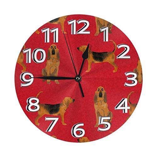 Eileen Max Funny Bloodhound A Dog Wanduhr - Runde einfach zu lesende dekorative für Home Office School