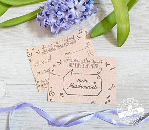 30 DJ Karten Hochzeit Musikwunschkarten Karten für Musikwünsche A7, 10,5 x 7,4cm Kraftpapieroptik