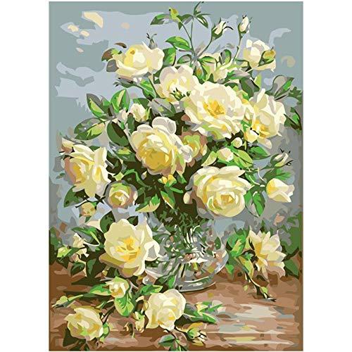Schilderen door cijfers voor volwassenen op canvas frame om de vaas op de tafel bloem gemakkelijk doe-het-zelf olieverven met borstels acryl kinderen geschenken 40x50CM,Zhxx Without Frame
