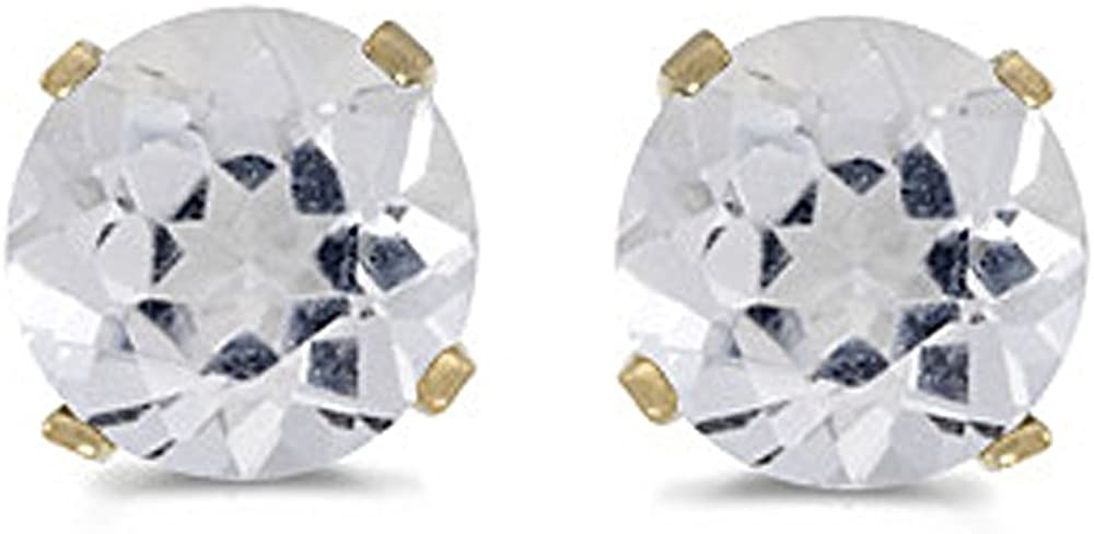Natural 5 MM White Popular Topaz Earring Gold Max 57% OFF Studs 14K in Prong Yellow