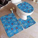 Beck Roy Conjuntos de alfombras de baño 3 Piezas Mariquitas Nubes adornadas Corazón Alfombrillas de baño Alfombra de Contorno en Forma de U Alfombrilla Set de Tapa de Inodoro