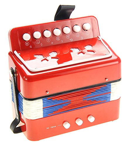 PowerTRC Children's Accordion   Musical Instrument   Easy to Learn Music   Kids Instrument   Red